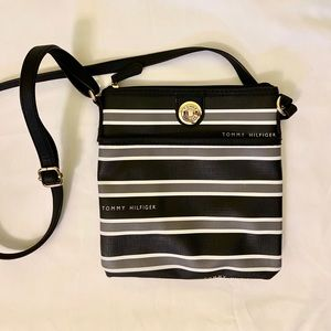 Black & White Striped Tommy Hilfiger Shoulder Bag